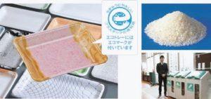 環境に配慮し、リサイクルされたエフピコ製のトレー